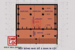 Mặt bằng thiết kế nhà gỗ 3 gian có vì thuận