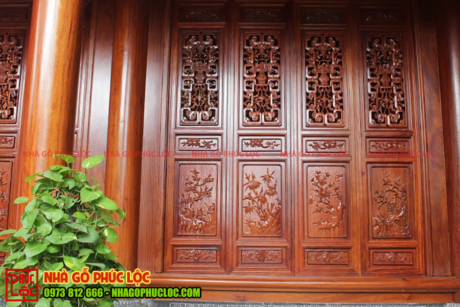 Cửa bức bàn cửa nhà gỗ lim 3 gian cổ truyền
