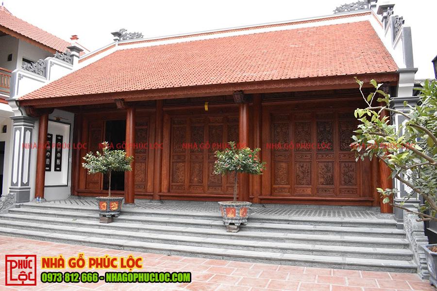 Tổng thể công trình nhà gỗ lim 3 gian truyền thống