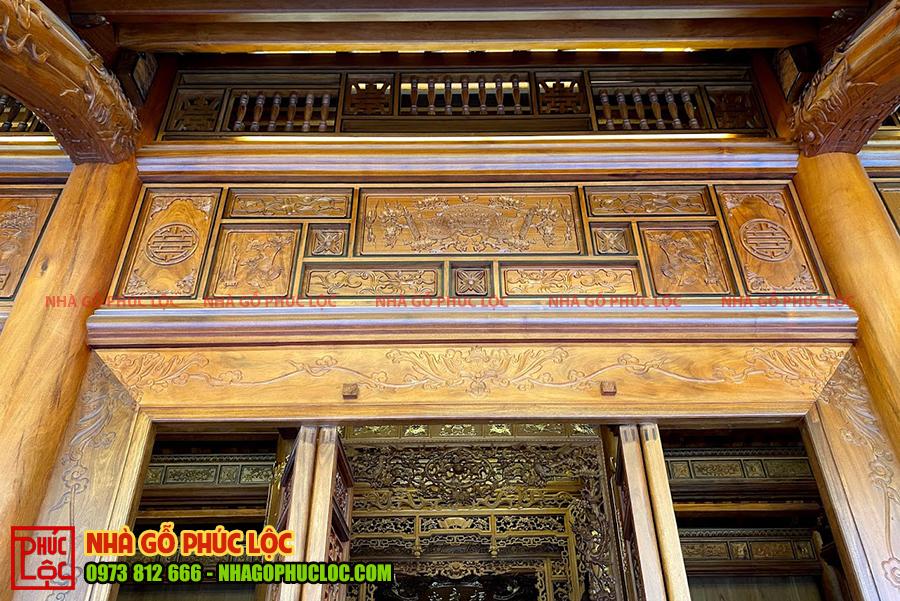 Phần khung song ô thoáng nhà gỗ cổ truyền